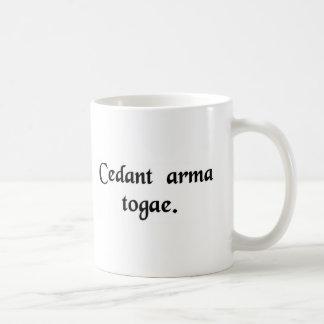 Let arms yield to the toga. coffee mug