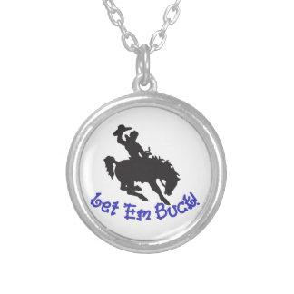 Let Em Buck Round Pendant Necklace