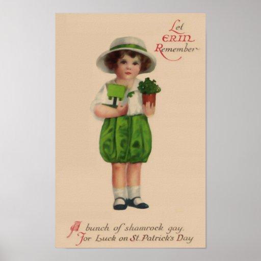 Let Erin Remember Vintage St. Patrick's Day Poster