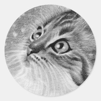 Let es gato del gatito de la nieve pegatina redonda