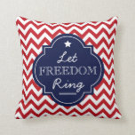 Let Freedom Ring, Chevron Red White Blue Pillow