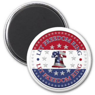Let Freedom Ring Liberty Bell 13 & 50 Stars round 2 Inch Round Magnet