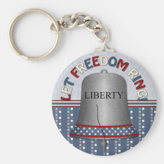 Let Freedom Ring Liberty Bell Silver Basic Round Button Keychain