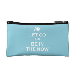Let go and be in the now - Spiritual quote - Blue Cosmetic Bag
