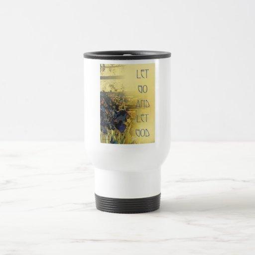 Let Go and Let God Blue Irises and Fence Travel Mug