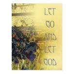 Let Go and Let God Blue Irises Post Card