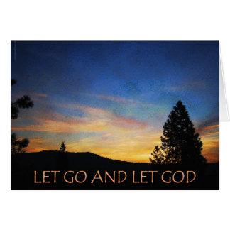Let Go and Let God Blue Orange Sunrise Cards