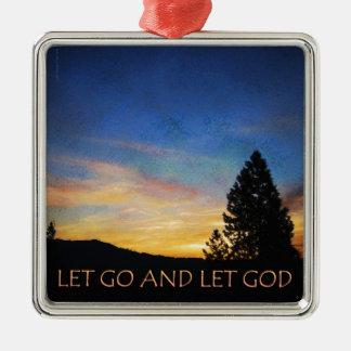 Let Go and Let God Blue Orange Sunrise Ornaments