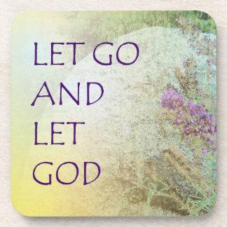 Let Go and Let God Boulder and Butterfly Bush Beverage Coaster