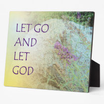 Let Go and Let God Boulder and Butterfly Bush Plaque