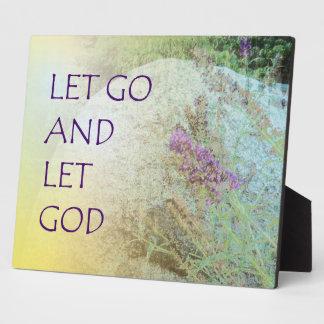 Let Go and Let God Boulder and Butterfly Bush Plaque