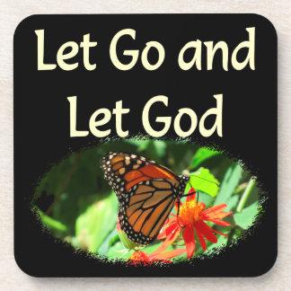 LET GO AND LET GOD BUTTERFLY DESIGN BEVERAGE COASTER