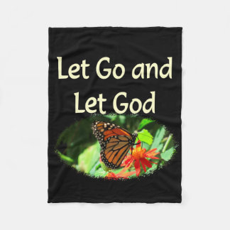 LET GO AND LET GOD BUTTERFLY DESIGN FLEECE BLANKET