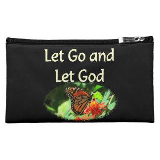 LET GO AND LET GOD BUTTERFLY DESIGN MAKEUP BAG