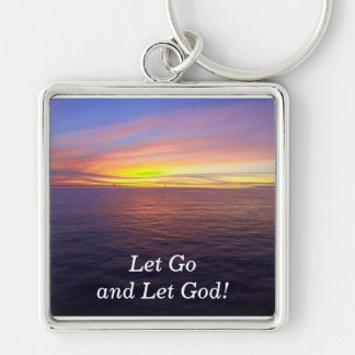 Let Go and Let God! -keychain Silver-Colored Square Keychain