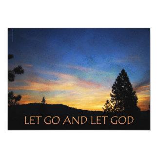 "Let Go and Let God Orange Blue Sunrise 5"" X 7"" Invitation Card"