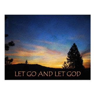 Let Go and Let God Orange Blue Sunrise Post Card