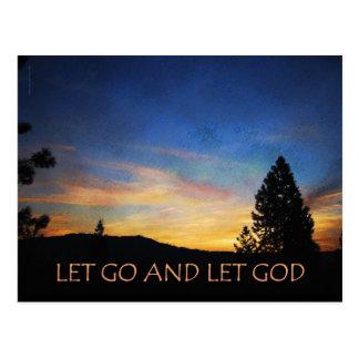 Let Go and Let God Orange Blue Sunrise Post Cards