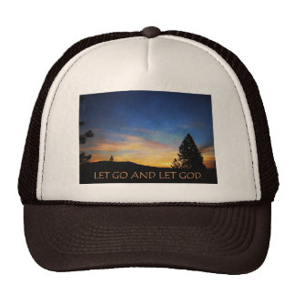 Let Go and Let God Orange Blue Sunrise Trucker Hat