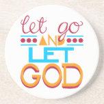 Let Go and Let GOD (Original Typography) Coaster