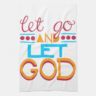 Let Go and Let GOD (Original Typography) Kitchen Towel