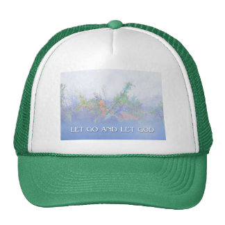 Let Go and Let God Pink Flowers & Fence Trucker Hat