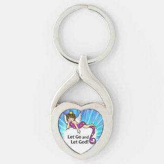 Let Go and Let God Silver-Colored Heart-Shaped Metal Keychain