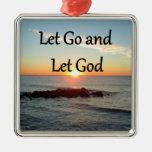 LET GO AND LET GOD SUNRISE PHOTO SQUARE METAL CHRISTMAS ORNAMENT