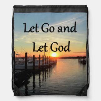 LET GO AND LET GOD SUNSET DRAWSTRING BAG