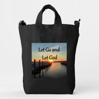 LET GO AND LET GOD SUNSET PHOTO DUCK BAG