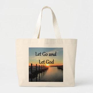 LET GO AND LET GOD SUNSET PHOTO LARGE TOTE BAG