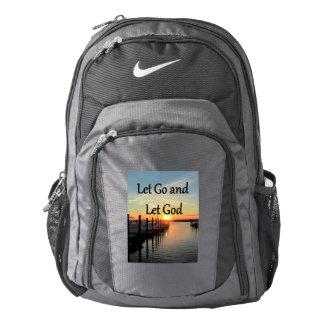 LET GO AND LET GOD SUNSET PHOTO NIKE BACKPACK