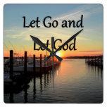 LET GO AND LET GOD SUNSET SQUARE WALLCLOCK