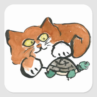 Let Go exclaims the Turtle to the Kitten Square Stickers