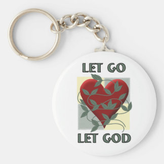 Let Go Let God Basic Round Button Keychain
