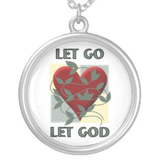 Let Go Let God Round Pendant Necklace