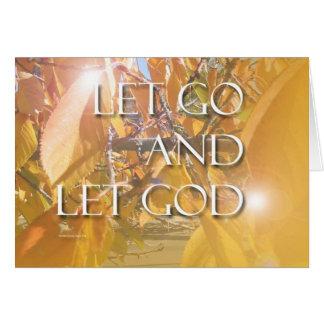 LET GOD Golden Leaves Greeting Cards