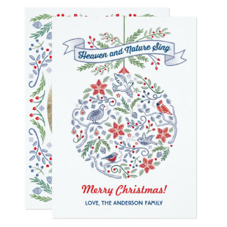 Let Heaven and Nature Sing Ornament Christmas Card