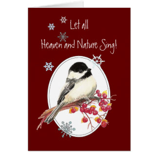 Let Heaven & Nature Sing Scripture Christmas Bird Greeting Card