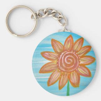 Let It Be Hippie Flower original painting Basic Round Button Keychain