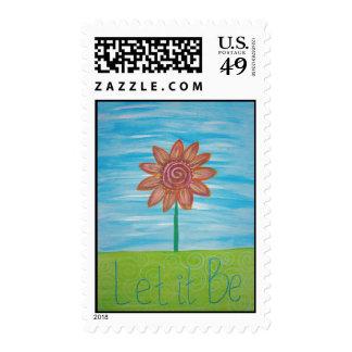 Let It Be Hippie Flower original painting Stamp
