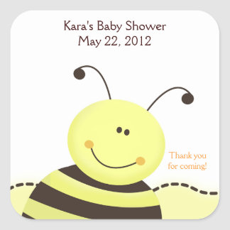 Let it Bee Bumble Bee SQUARE Favor Sticker