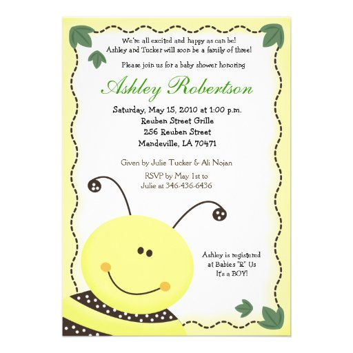 Let it BEE Bumblebee Baby Shower 5x7 Invitation