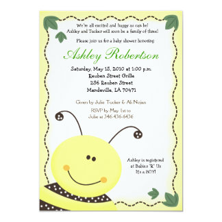 """Let it BEE Bumblebee Baby Shower 5x7 Invitation 5"""" X 7"""" Invitation Card"""