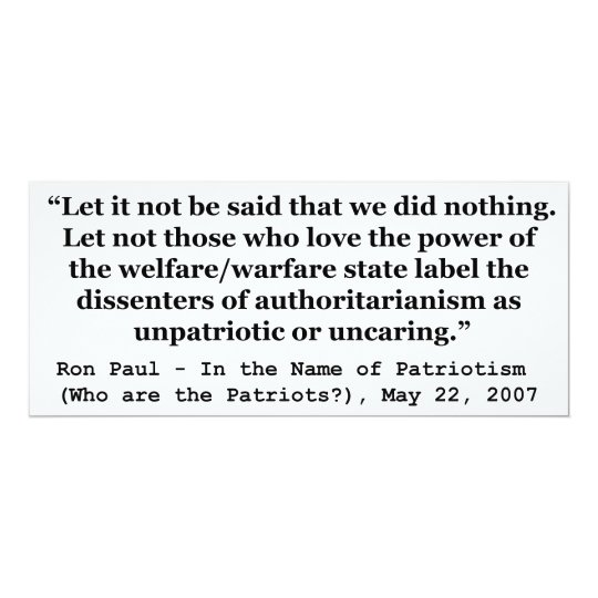 Let It Not Be Said That We Did Nothing Ron Paul Card