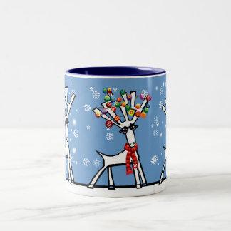 let it snow 3 Christmas reindeer Two-Tone Coffee Mug