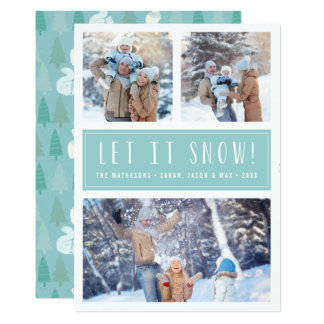 Let It Snow | 3 Photo Collage Holiday Card