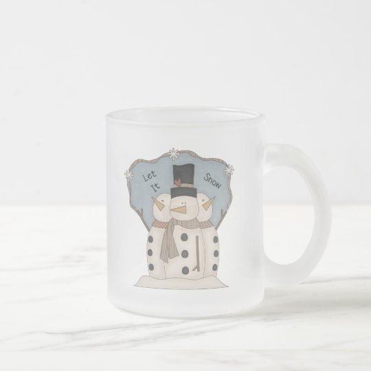 Let it Snow - 3 Snowmen Frosted Glass Coffee Mug