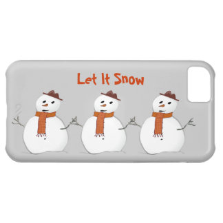 Let It Snow 3 Snowmen with Scarves Winter Scene Cover For iPhone 5C