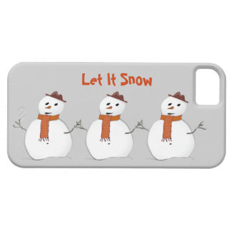 Let It Snow 3 Snowmen with Scarves Winter Scene iPhone SE/5/5s Case